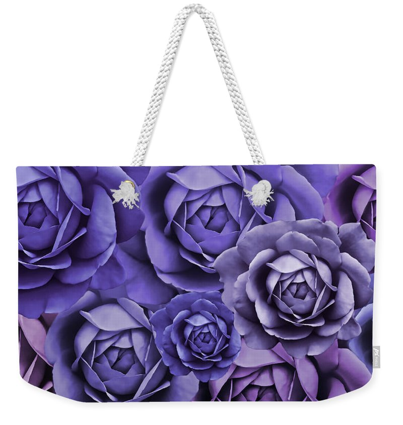 Rose Weekender Tote Bag featuring the photograph Purple Passion Rose Flower Abstract by Jennie Marie Schell