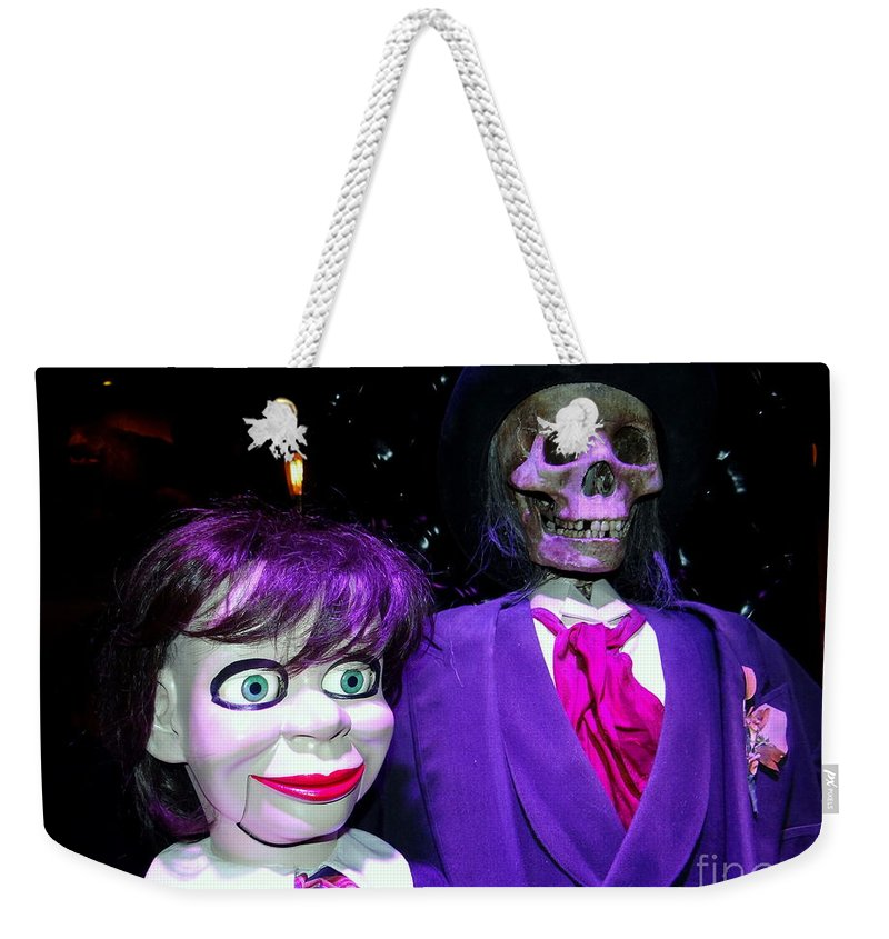 Mannequins Weekender Tote Bag featuring the photograph Purple Pose by Ed Weidman