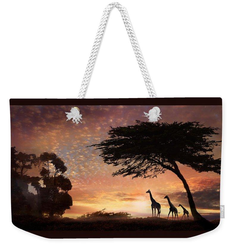 Giraffe Weekender Tote Bag featuring the photograph Purple Safari Sunset by Melinda Hughes-Berland