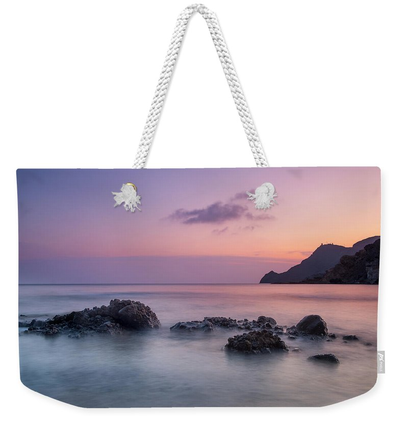 Purple Weekender Tote Bag featuring the photograph Vela Blanca Tower by Guido Montanes Castillo