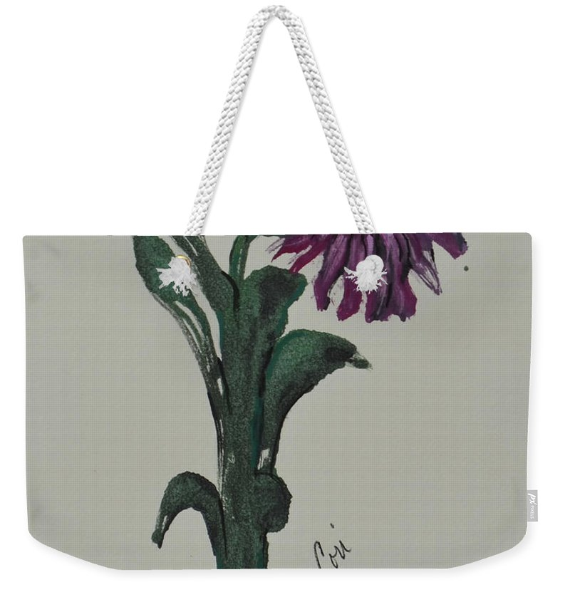 Flower Weekender Tote Bag featuring the mixed media Purple Simplicity by Cori Solomon