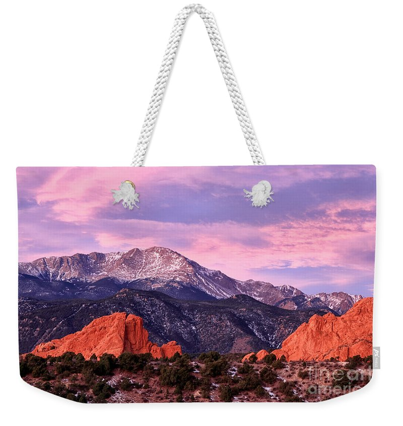 Pikes Peak Weekender Tote Bag featuring the photograph Purple Skies Over Pikes Peak by Ronda Kimbrow