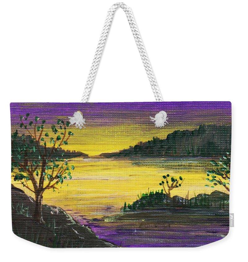 Calm Weekender Tote Bag featuring the painting Purple Sunset by Anastasiya Malakhova
