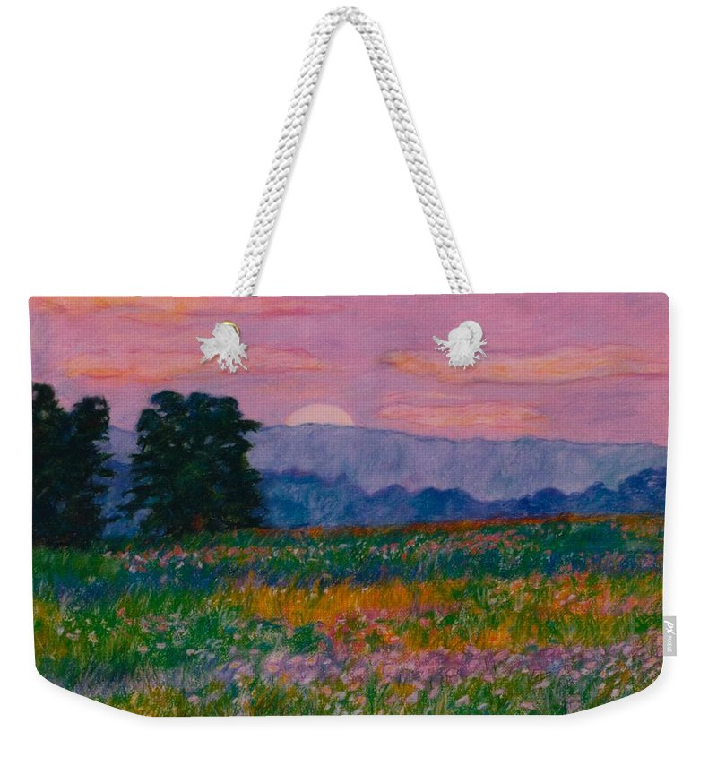 Kendall Kessler Weekender Tote Bag featuring the painting Purple Sunset On The Blue Ridge by Kendall Kessler