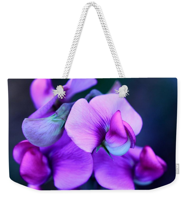 Sweet Peas Weekender Tote Bag featuring the photograph Purple Sweet Peas by Scott Hill