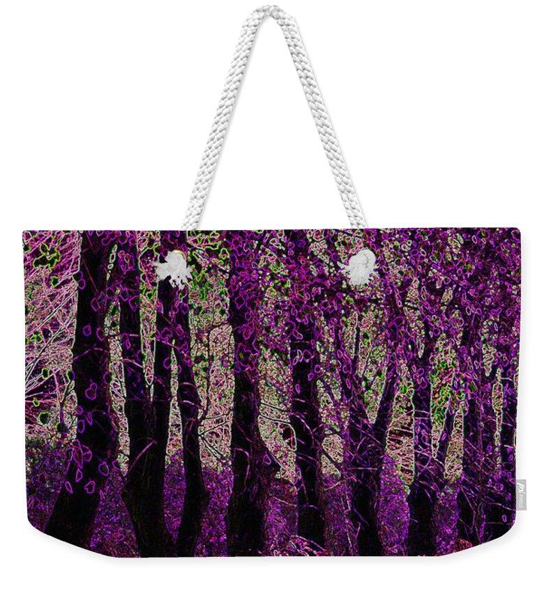Purple Weekender Tote Bag featuring the digital art Purple Trees by Carol Lynch
