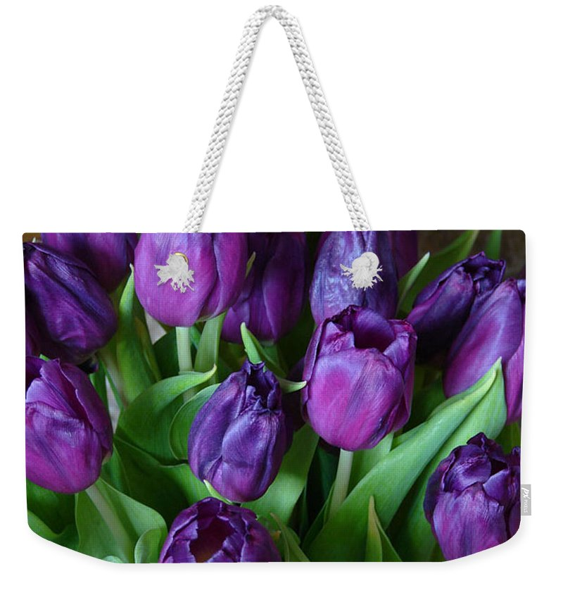 Purple Weekender Tote Bag featuring the photograph Purple Tulips by Carol Lynch