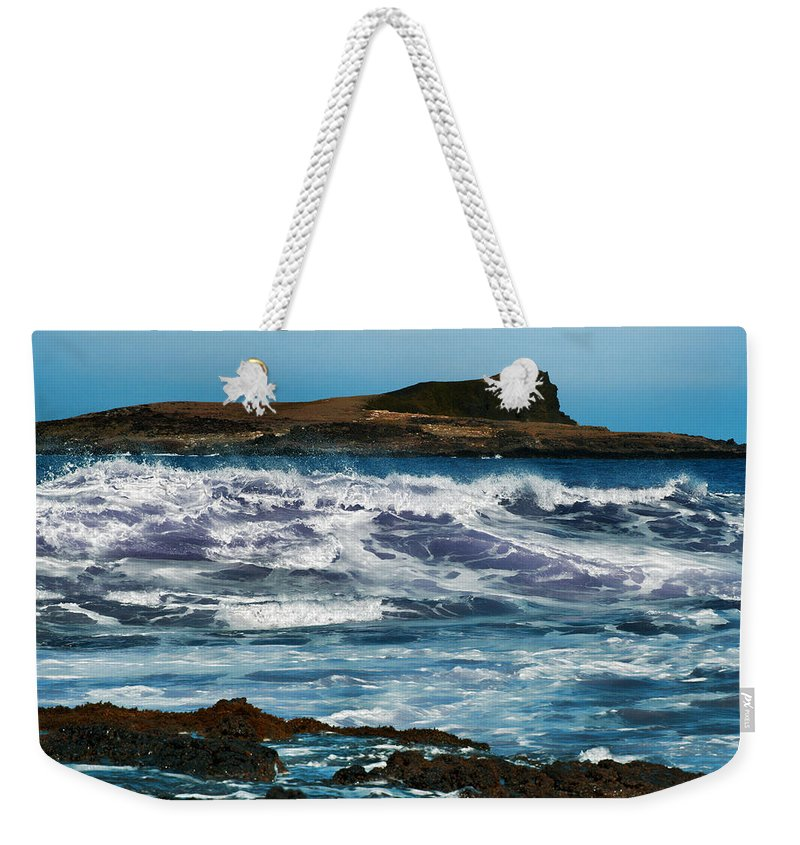 Weekender Tote Bag featuring the photograph Purple Wave by Douglas Barnard