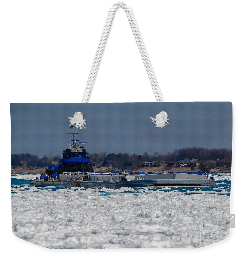 Tug Boat Weekender Tote Bag featuring the photograph Pushing by Grace Grogan