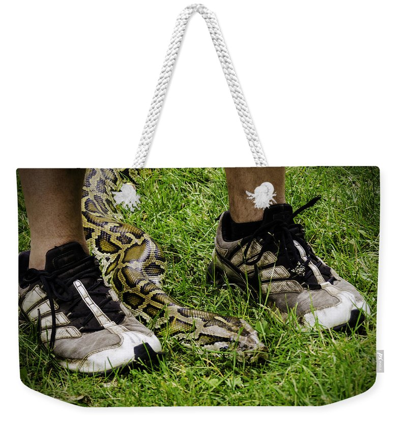 Python Weekender Tote Bag featuring the photograph Python Snake In The Grass And Running Shoes by LeeAnn McLaneGoetz McLaneGoetzStudioLLCcom
