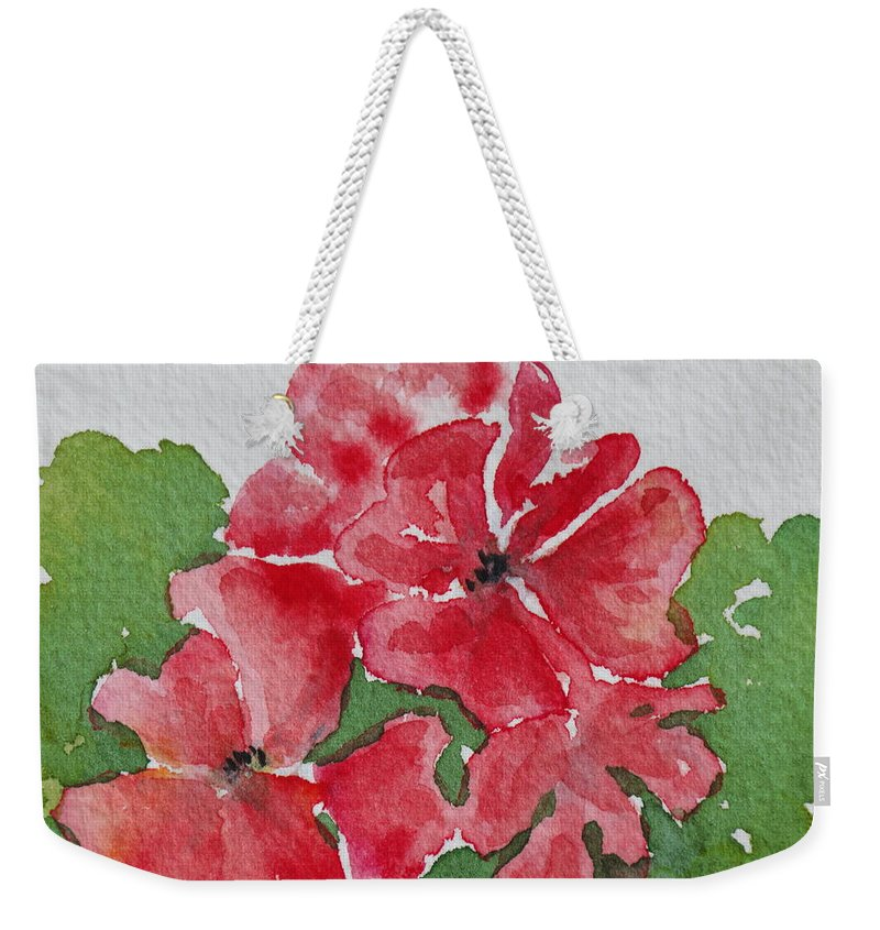Floral Weekender Tote Bag featuring the painting Pzzzazz by Mary Ellen Mueller Legault
