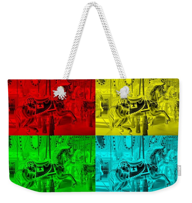 Carousel Weekender Tote Bag featuring the photograph Quad Color Horses by Rob Hans