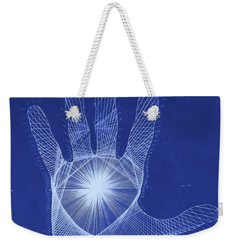 Hand Weekender Tote Bag featuring the drawing Quantum Hand Through My Eyes by Jason Padgett
