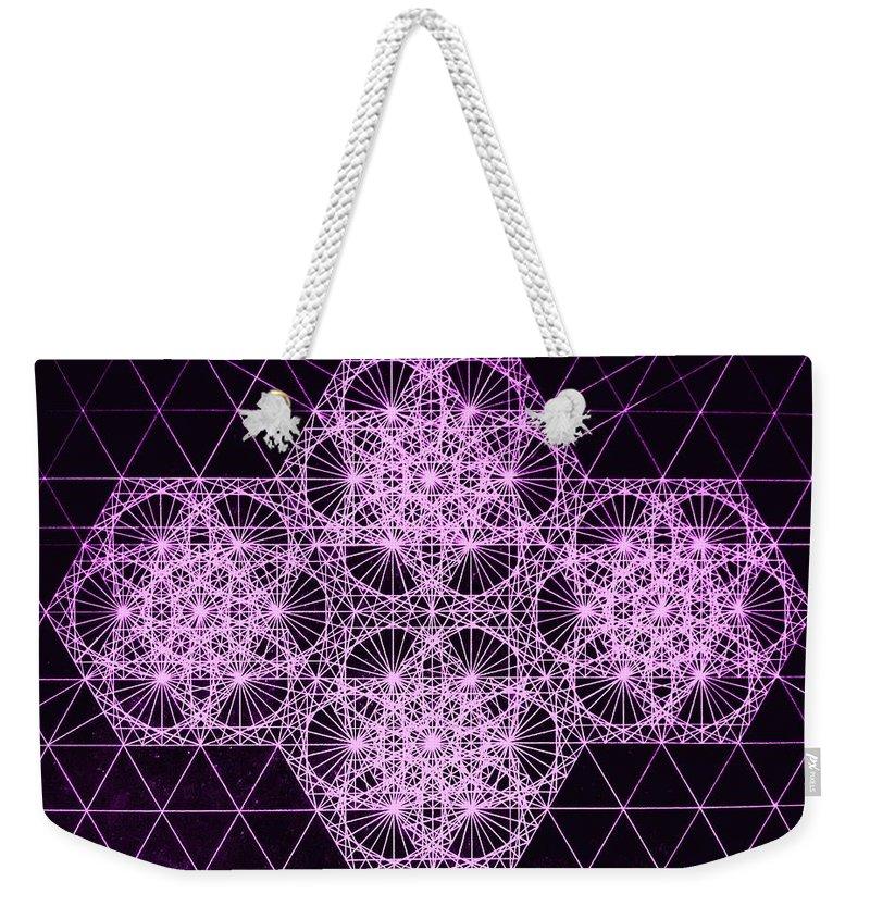 Quantum Weekender Tote Bag featuring the drawing Quantum Snowfall by Jason Padgett