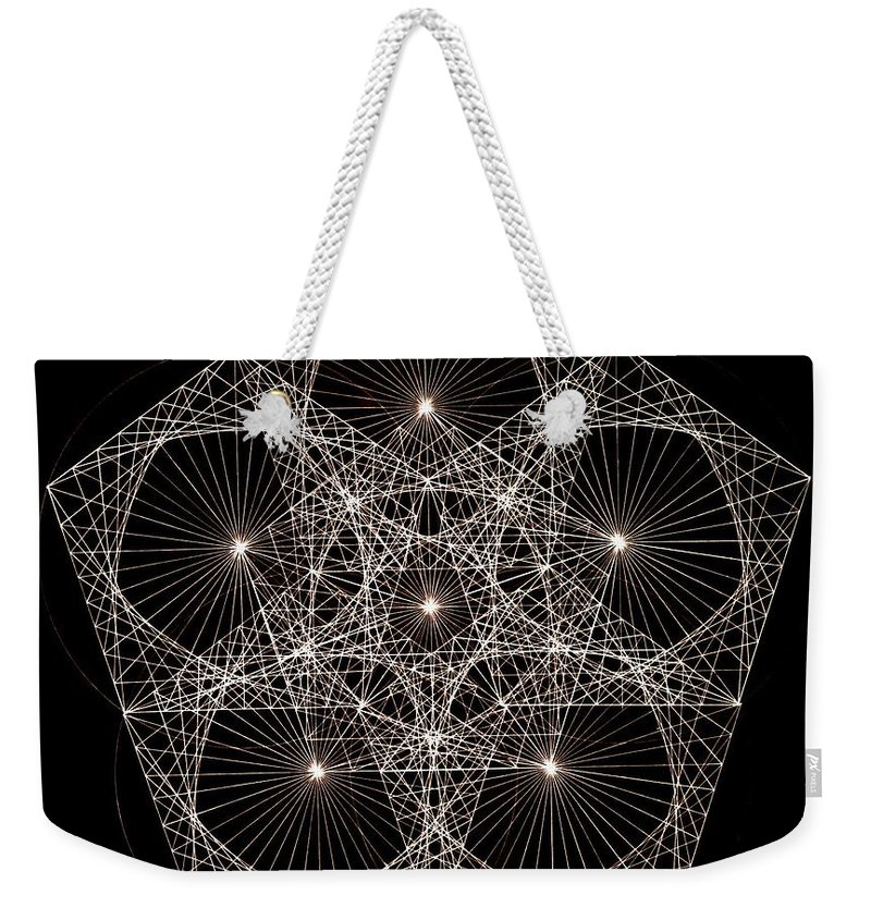 Star Weekender Tote Bag featuring the drawing Quantum Star II by Jason Padgett