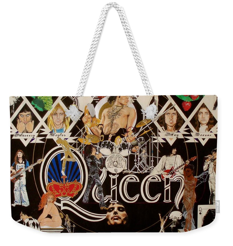 Freddie Mercury;brian May;roger Taylor;john Deacon;guitars;crown;royal;grapes;strawberries;drums; Weekender Tote Bag featuring the drawing Queen - Black Queen White Queen by Sean Connolly