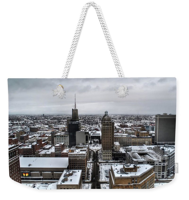 Buffalo Weekender Tote Bag featuring the photograph Queen City Winter Wonderland After The Storm Series 001 by Michael Frank Jr