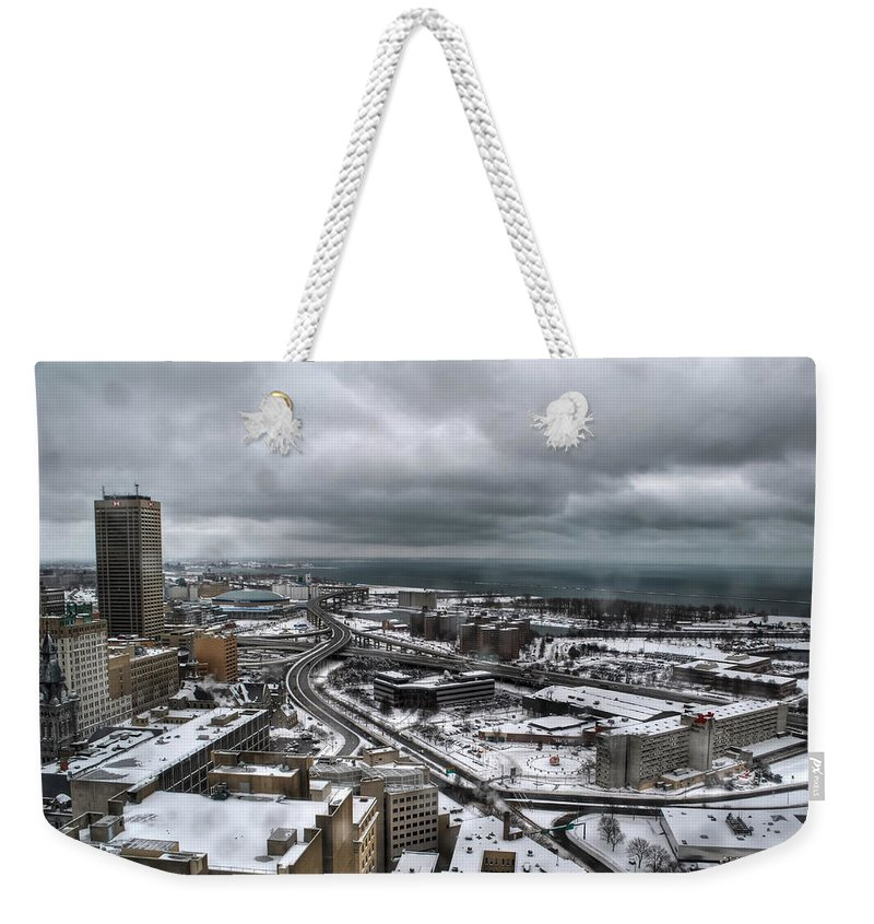 Buffalo Weekender Tote Bag featuring the photograph Queen City Winter Wonderland After The Storm Series 0011 by Michael Frank Jr