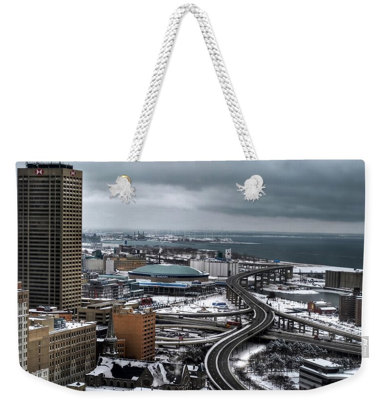 Buffalo Weekender Tote Bag featuring the photograph Queen City Winter Wonderland After The Storm Series 006 by Michael Frank Jr
