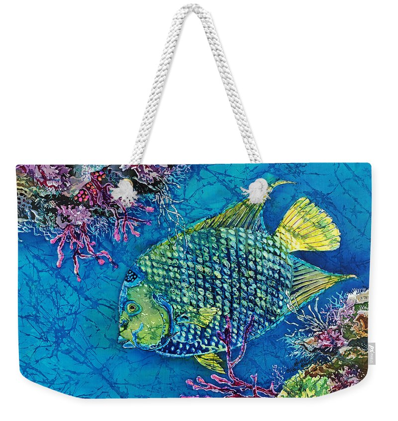 Angelfish Weekender Tote Bag featuring the painting Queen Of The Sea by Sue Duda