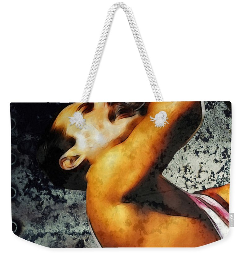 Rock Music Freddie Mercury Queen Famous Band 80s 70s 90s Star Song Songwriter Weekender Tote Bag featuring the painting Queen We Will Rock You by Steve K