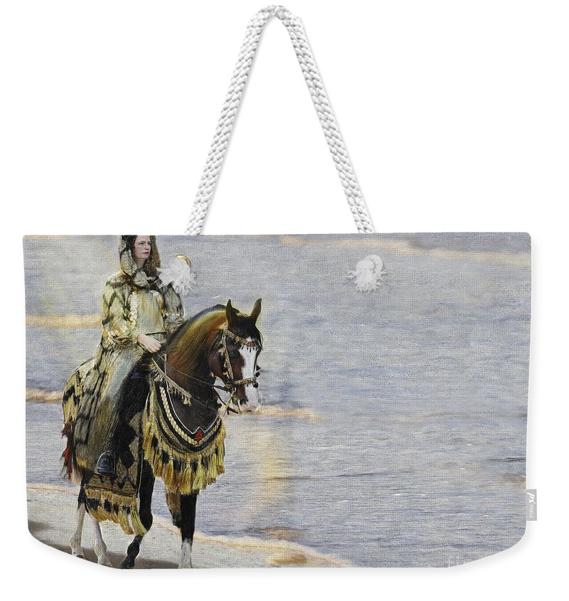 Horse Weekender Tote Bag featuring the painting Queens War Horse by Constance Woods