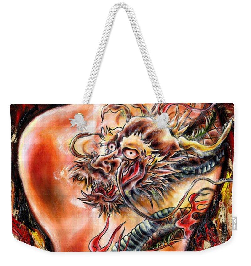 Nude Weekender Tote Bag featuring the painting Queer Fruit by Hiroko Sakai