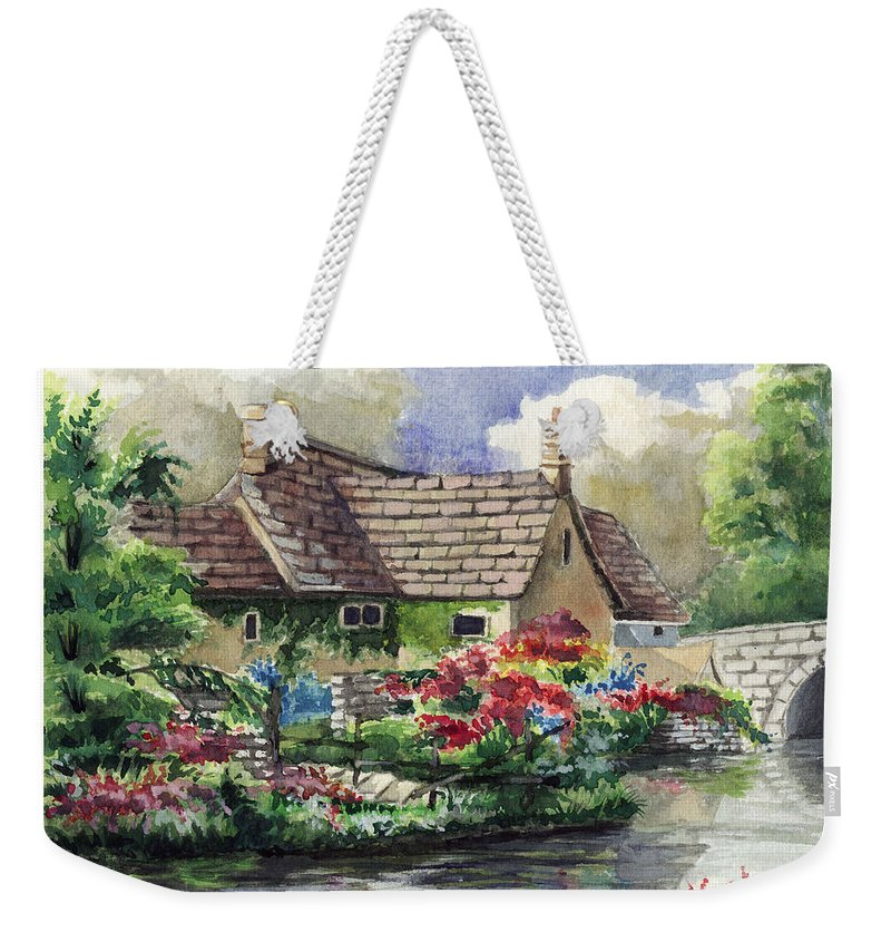 House Weekender Tote Bag featuring the painting Quiet House Along The River by Alban Dizdari