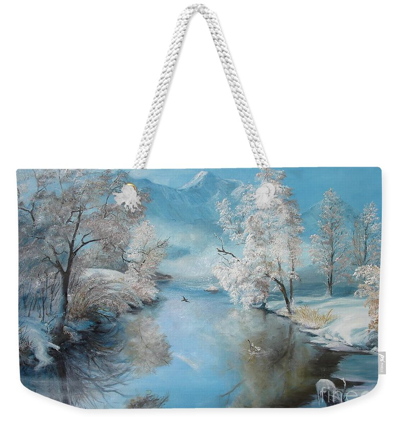 Winter Weekender Tote Bag featuring the painting Quiet Ice by Sorin Apostolescu
