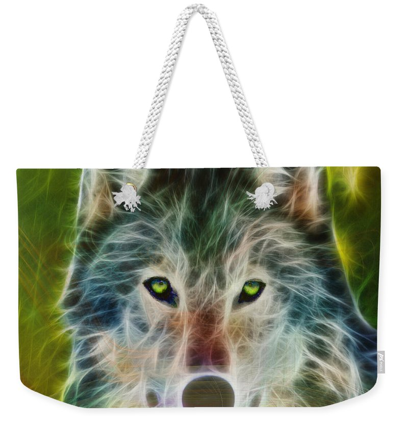 Wolf Weekender Tote Bag featuring the digital art Quiet Majesty - Square Fractalized Version by John Beck