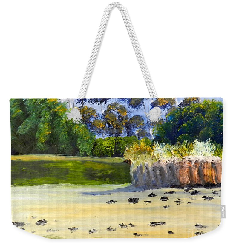 Impressionist Weekender Tote Bag featuring the painting Quiet Sand By The Creek by Pamela Meredith