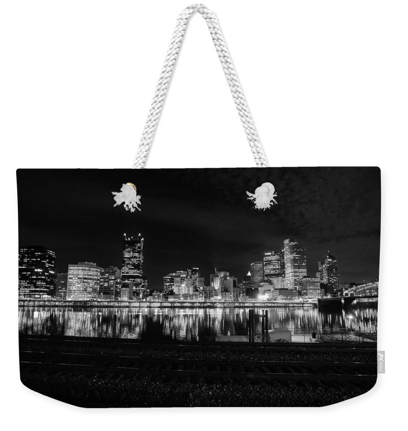 Pittsburgh Pa. Skyline Black & White Taaffe Unbanx Urban Ppg quiet City Burg Mount Washington big City River Weekender Tote Bag featuring the photograph Quiet Streets On Quiet Night by Jimmy Taaffe