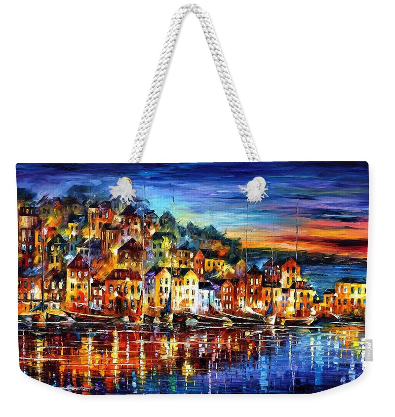 Palette Weekender Tote Bag featuring the painting Quiet Town - PALETTE KNIFE Cityscape Oil Painting On Canvas By Leonid Afremov by Leonid Afremov