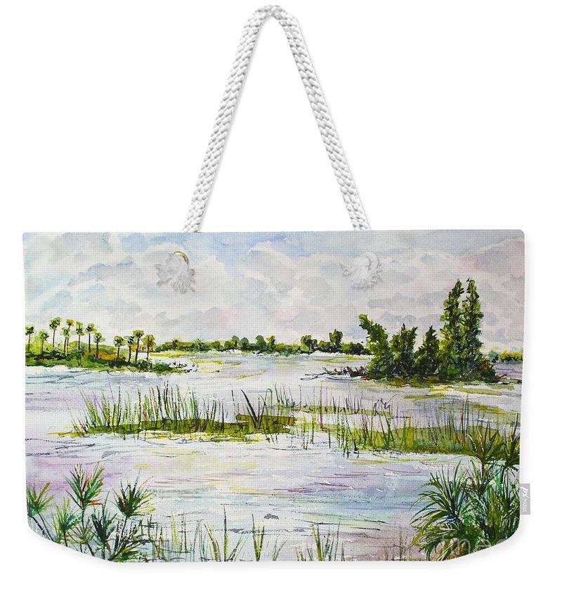 Florida Weekender Tote Bag featuring the painting Quiet Waters Park Deerfield Beach Fl by Janis Lee Colon