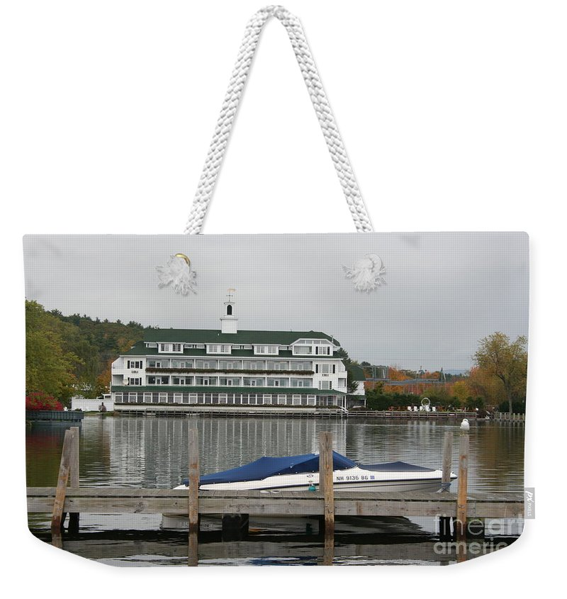 Lake Winnipesaukee Weekender Tote Bag featuring the photograph Quiettime At The Lake by Christiane Schulze Art And Photography