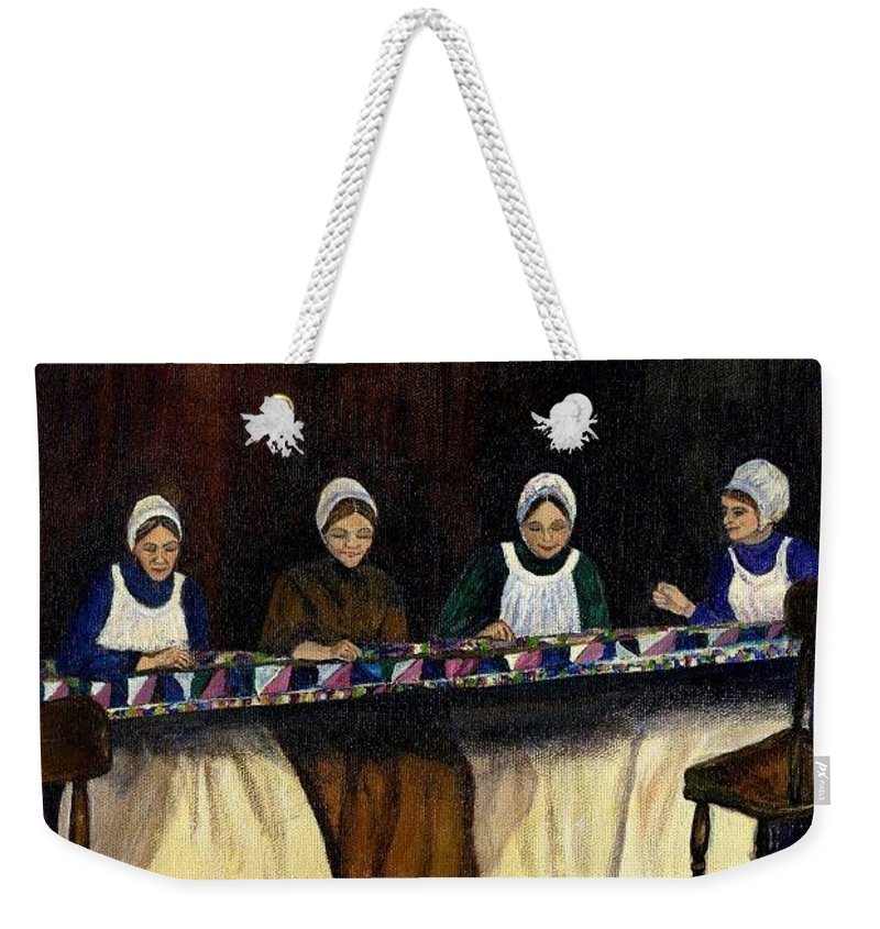 Women Weekender Tote Bag featuring the painting Quilting by Gail Kirtz