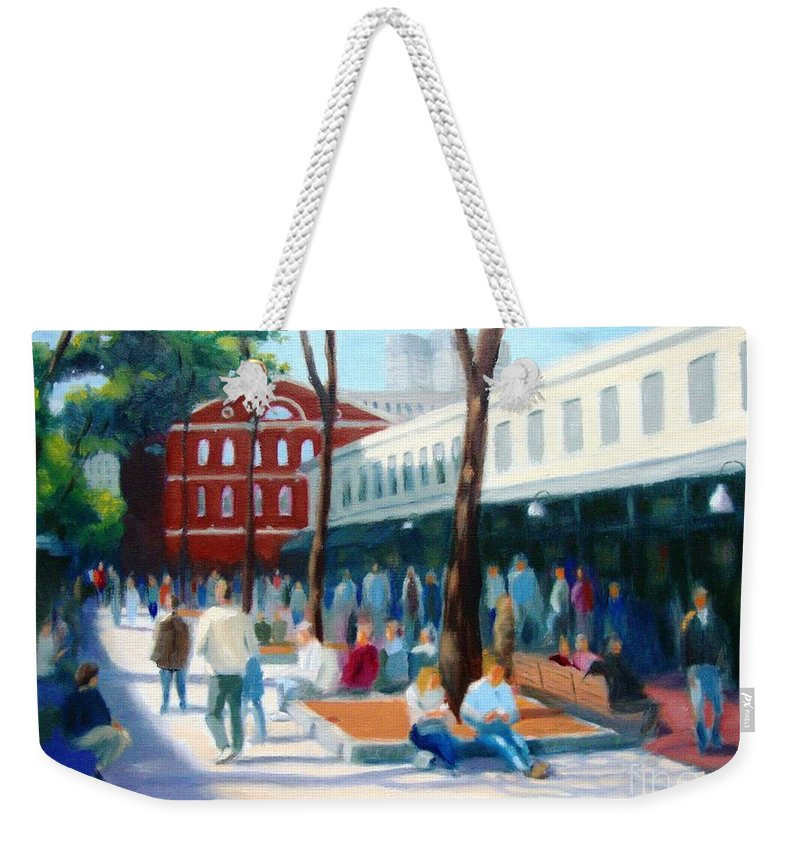 Boston Weekender Tote Bag featuring the painting Quincy Market by Frank Quinn