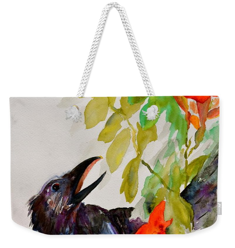 Crow Weekender Tote Bag featuring the painting Quoi by Beverley Harper Tinsley