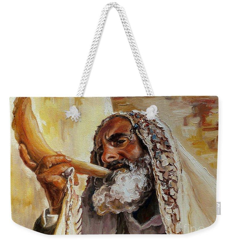 Rabbi Weekender Tote Bag featuring the painting Rabbi Blowing Shofar by Carole Spandau