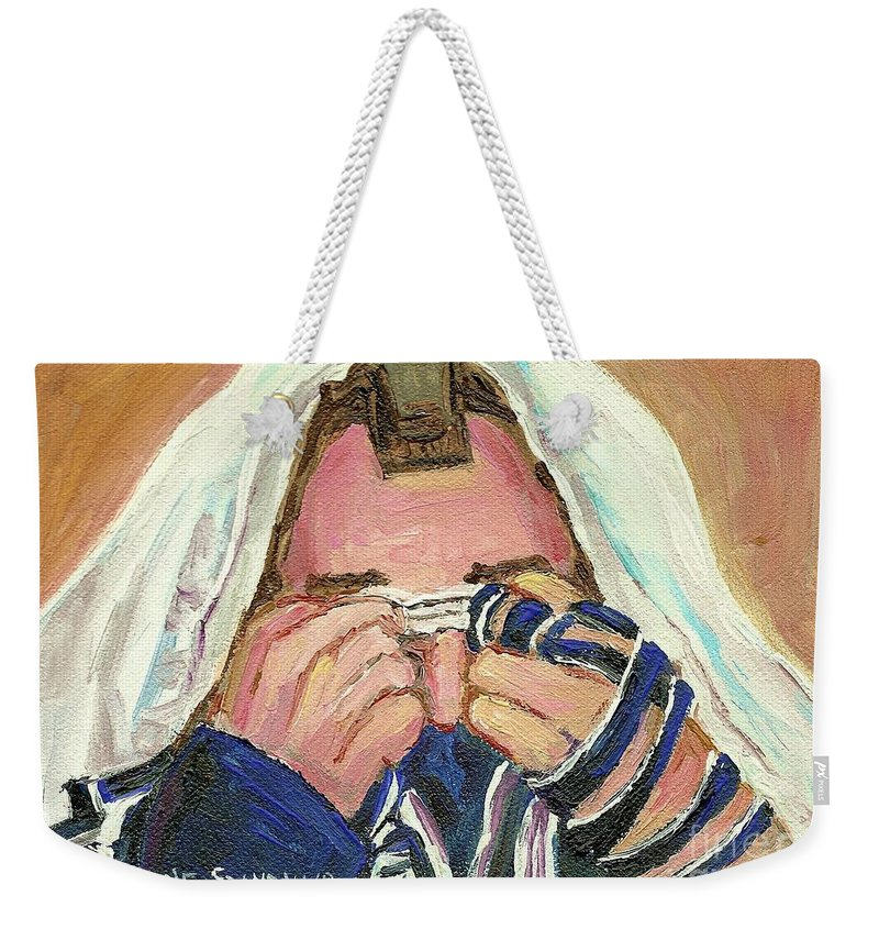 Rabbi Davening Weekender Tote Bag featuring the painting Rabbi's Prayer For The Sabbath by Carole Spandau