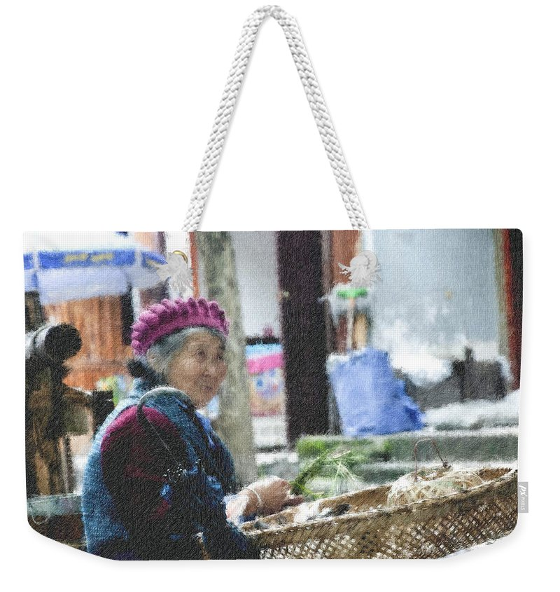 Asian Weekender Tote Bag featuring the photograph Rabbit Vender Pastel Chalk 2 by David Lange