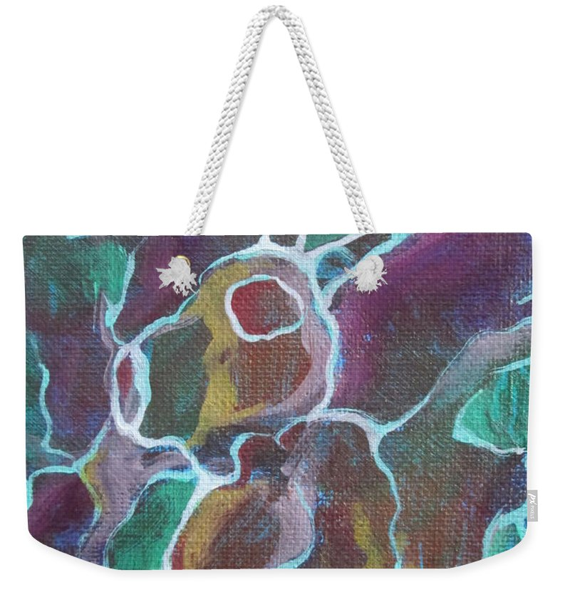 Rabbit Weekender Tote Bag featuring the painting Rabbock by Jeff Seaberg
