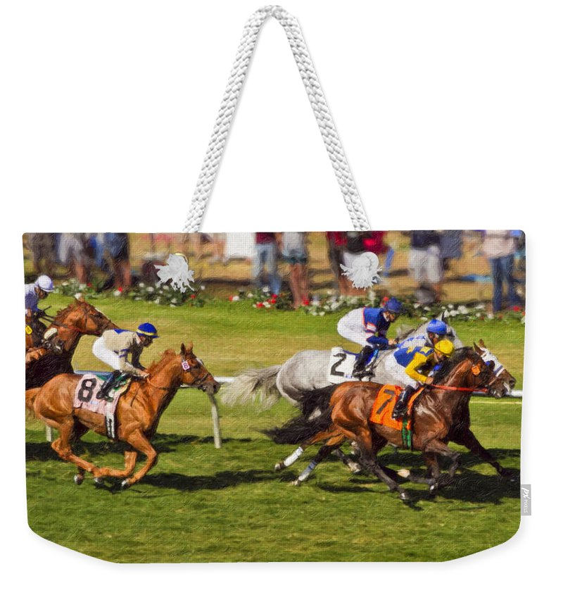 Del Mar Weekender Tote Bag featuring the painting Race 6 - Del Mar Horse Race by Angela Stanton