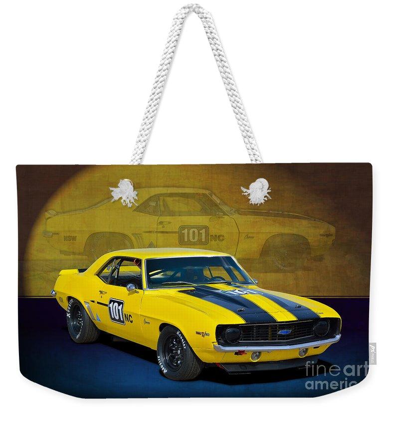 Camaro Weekender Tote Bag featuring the photograph Racing Camaro by Stuart Row