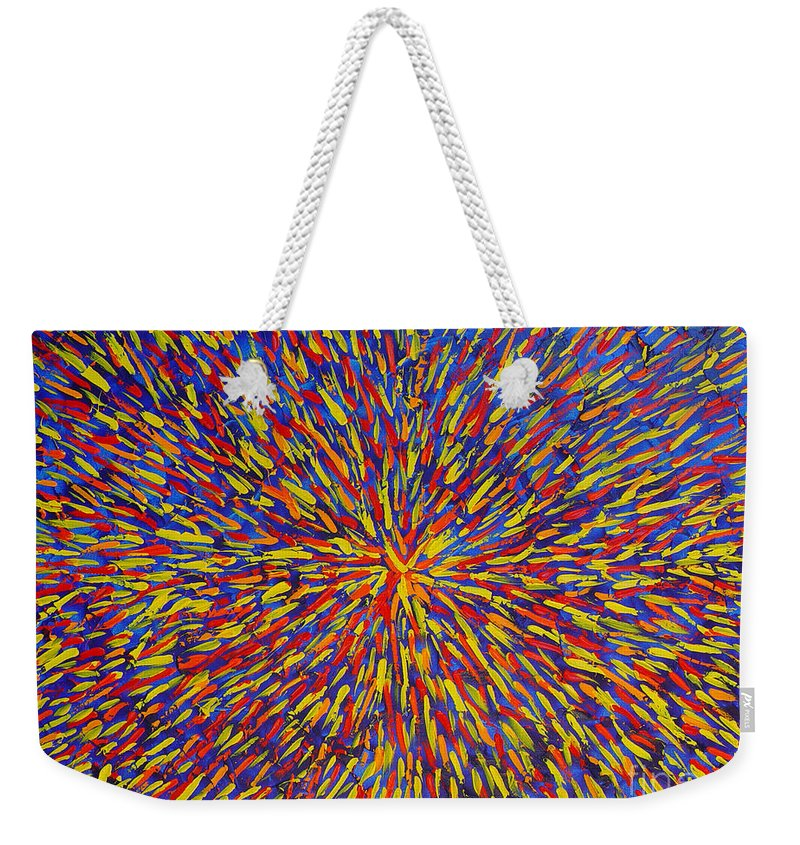Abstract Weekender Tote Bag featuring the painting Radiation Blue by Dean Triolo
