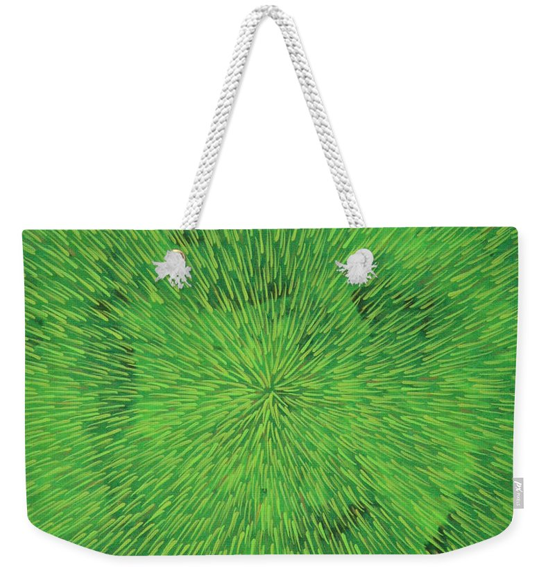 Abstract Weekender Tote Bag featuring the painting Radiation Green by Dean Triolo