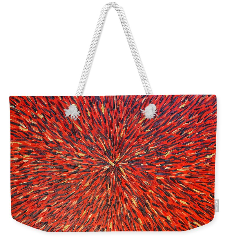 Abstract Weekender Tote Bag featuring the painting Radiation Red by Dean Triolo