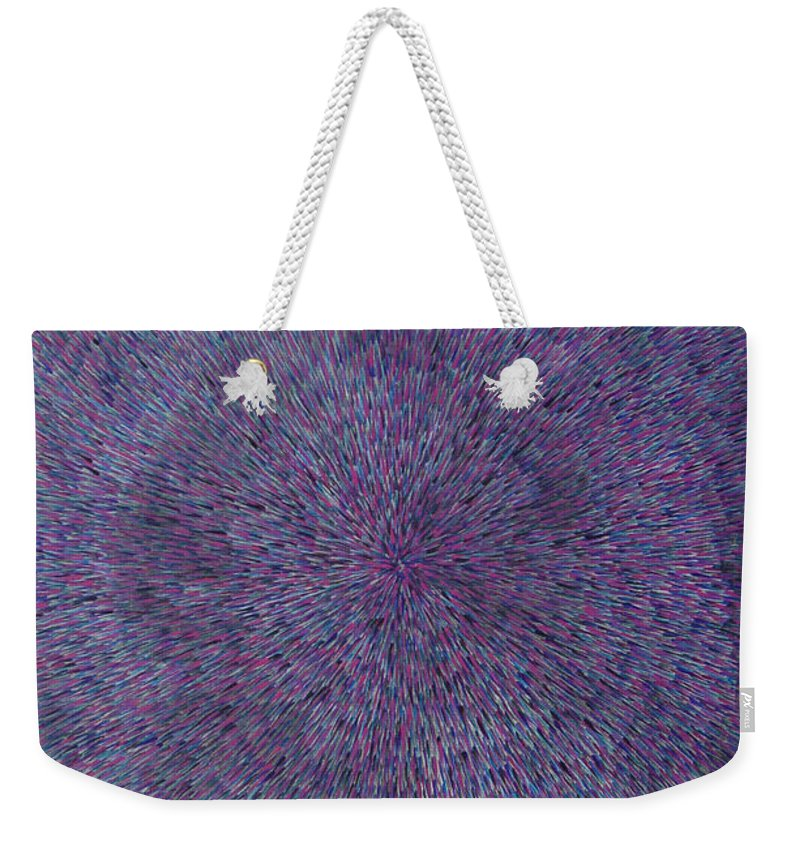 Abstract Weekender Tote Bag featuring the painting Radiation Violet by Dean Triolo
