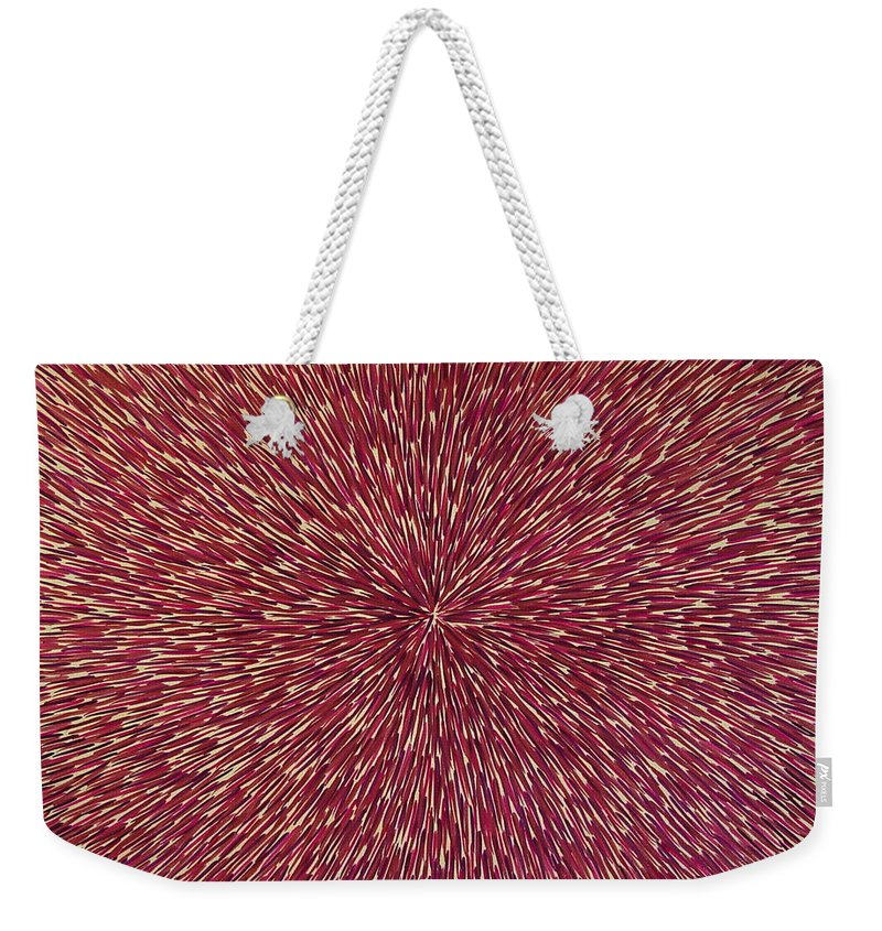 Abstract Weekender Tote Bag featuring the painting Radiation With Brown Magenta And Violet by Dean Triolo