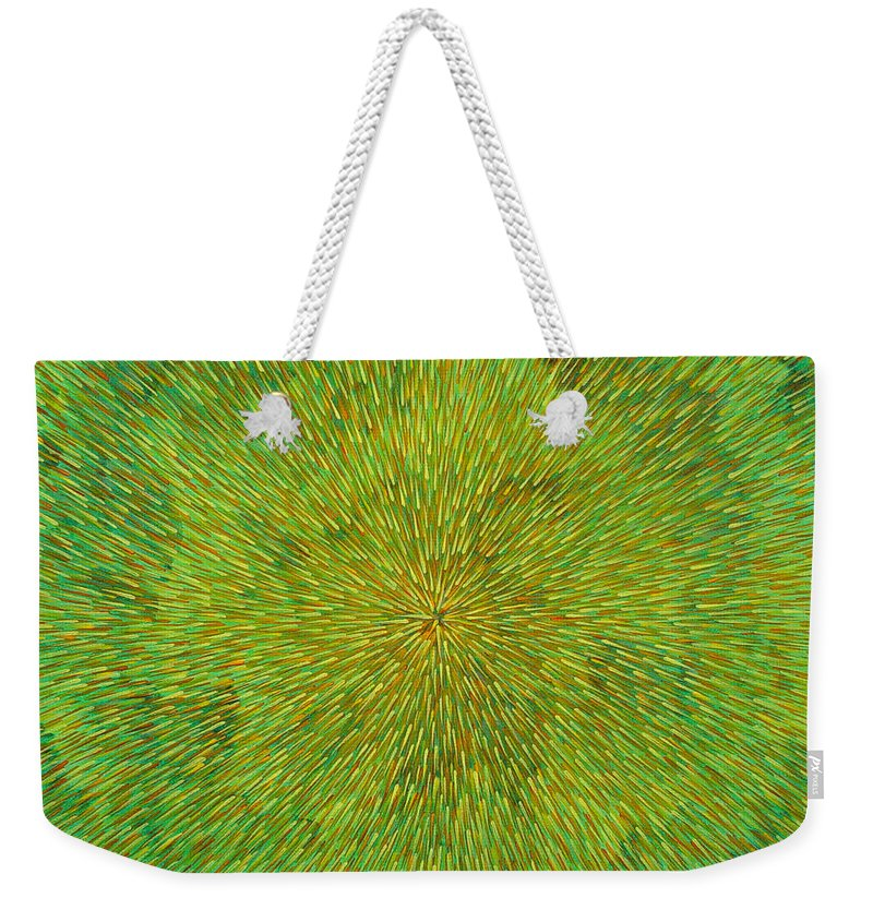 Abstract Weekender Tote Bag featuring the painting Radiation With Green Yellow And Orange by Dean Triolo